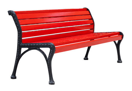 Perspective view on a colorful wooden bench painted in red with black metal legs, isolated on a white background (design element)