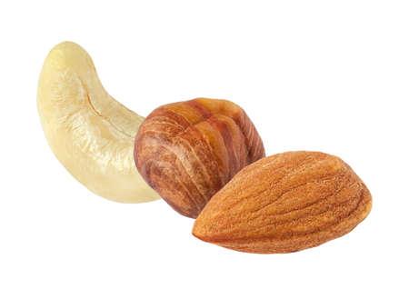 Cashews almonds hazelnuts, isolated on a white background