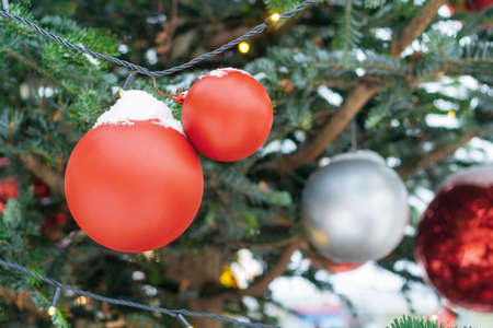 Close up view on a red balls on the Christmas tree covered with snow
