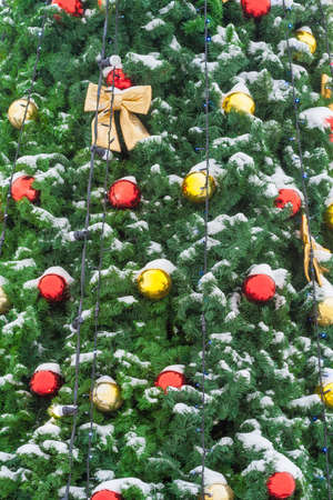 View on a red and gilded balls and bows on the snow covered Christmas tree