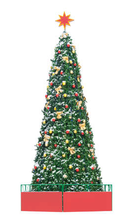 High Christmas tree decorated with colored balls, isolated on a white background
