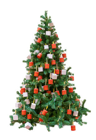 Christmas tree decorated with gifts boxes, isolated on a white background