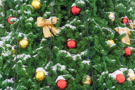 Red and golden balls and bows on the snow covered Christmas tree