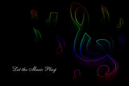 Neon music notes on a black background photo