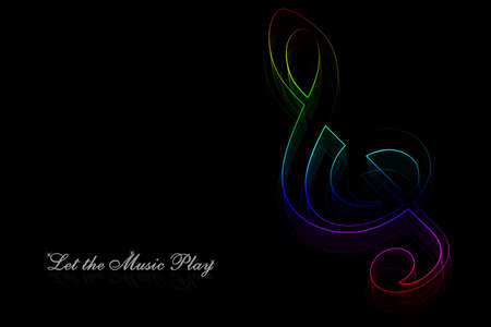 Neon music note on a black background photo