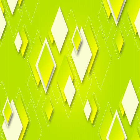 Bright seamless yellow-green background with geometric diamonds for design Stock Photo