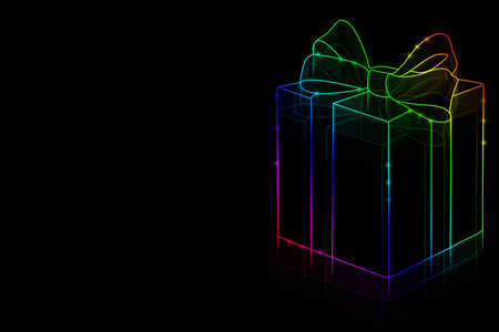 Neon gift on a black background with space for text