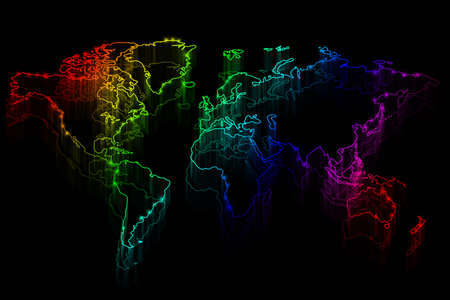 Neon outline map of the world on black background photo