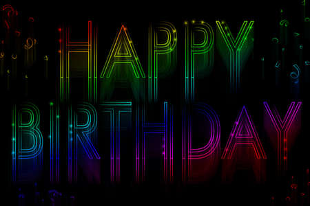 Neon sign happy birthday on a black background photo