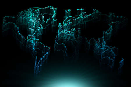Glowing blue contour map of the world on black background photo