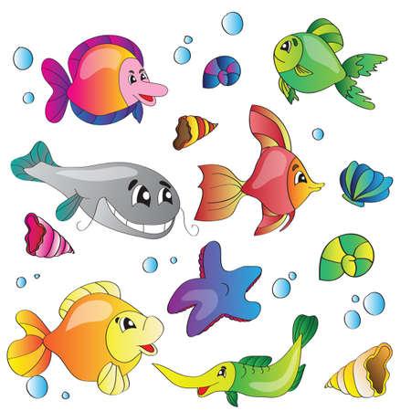 illustration set of images of the marine life