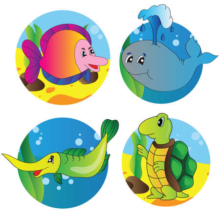 illustration set of images of the marine life Vector