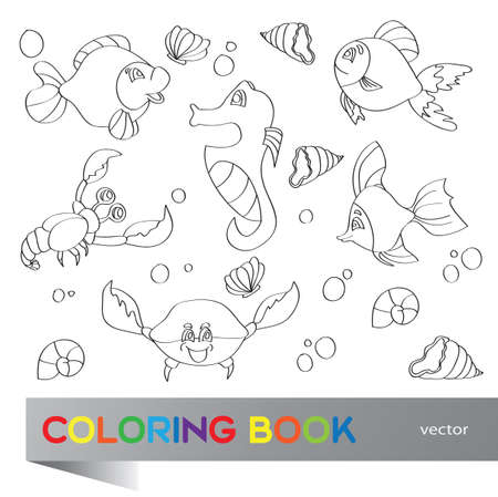 Coloring book - the marine life Vector