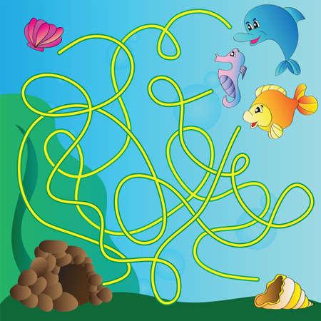 Vector puzzel voor kinderen - het mariene leven Stockfoto - 30705249