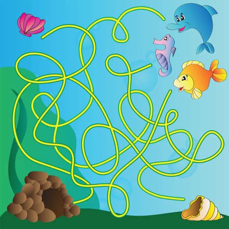 Vector puzzle for kids  - the marine life Vector