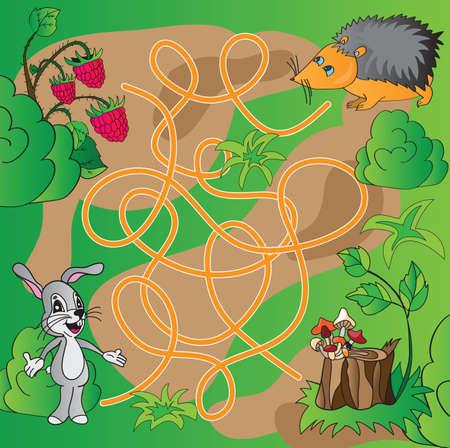 Childrens puzzle - maze - vector illustration