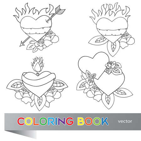 Heart Tattoo Design - flash set -  coloring book Vector
