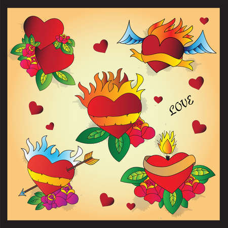 Heart Tattoo Design - flash set Vector