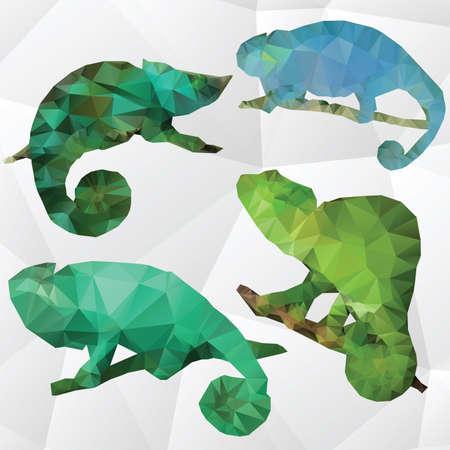 Vector art multicolored polygonalset of chameleon Vector
