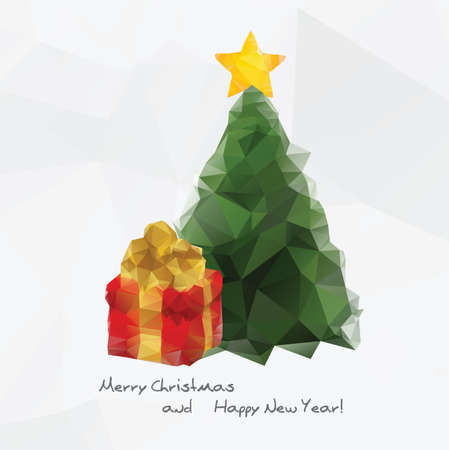 Geometrical Christmas tree icon, colorful polygonal background Vector