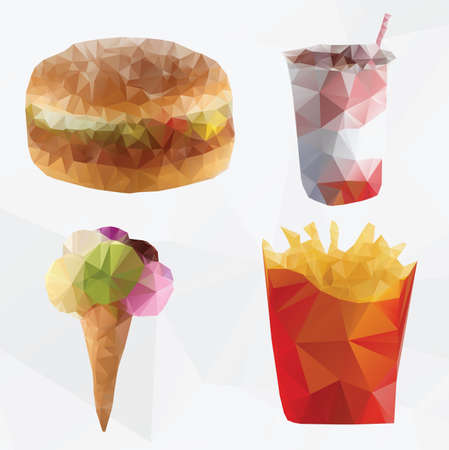 Fast food abstract  geometric polygon vector