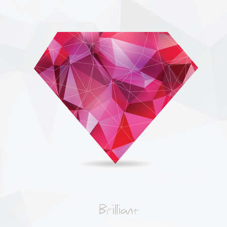 cutting sticker: Diamond Polygonal geometric symbol. Origami style.