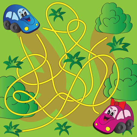 Vector maze game with funny cars  Vector