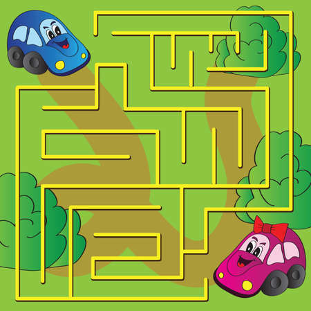 Vector maze game with funny cars