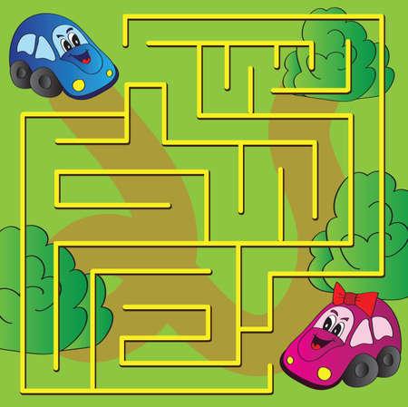 Vector doolhof spel met grappige auto's Stockfoto - 31063935