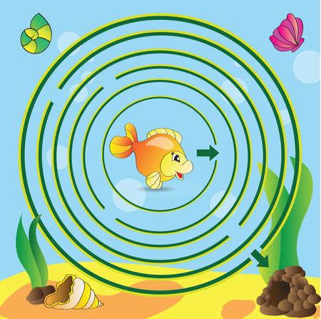 Doolhof spel voor kinderen - Help de kleine vissen om uit het labyrint