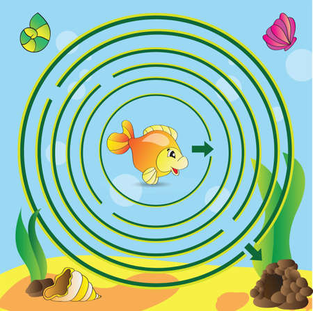 Maze game for kids - Help the little fish to get out of the labyrinth Illustration