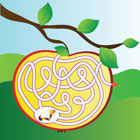 Apple maze with worm - vector illustration