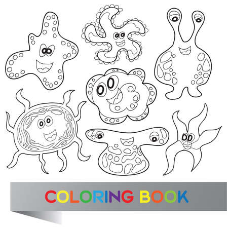 Cartoon cute monsters - vector coloring book Vector