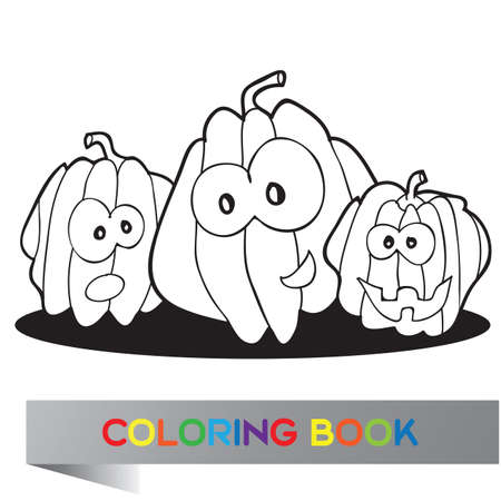 scary story: Illustration of funny pumpkins for coloring book