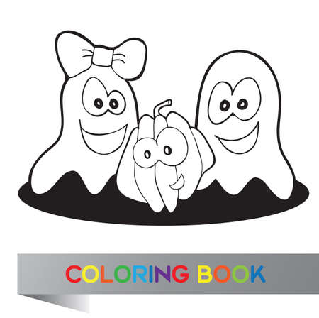 Coloring book Halloween - vector illustration with fanny characters Vector