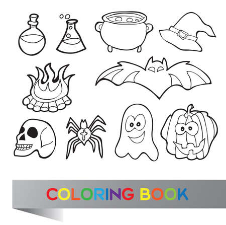 Halloween set - coloring book with funny pictures Vector
