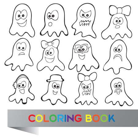 31288948 - Libro para colorear de Halloween - ilustración vectorial con  personajes fanny 038babc9858