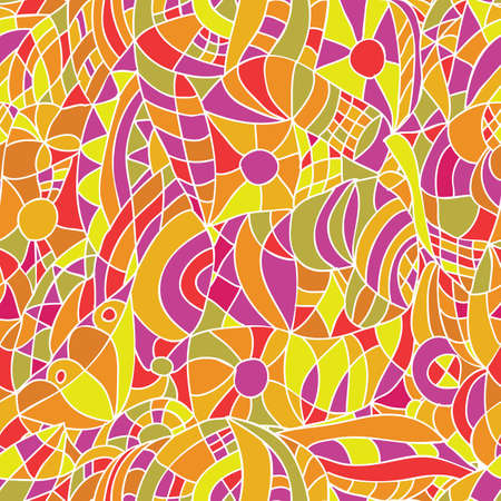 Hand-Drawn Abstract Seamless Pattern -  dudling style Vector