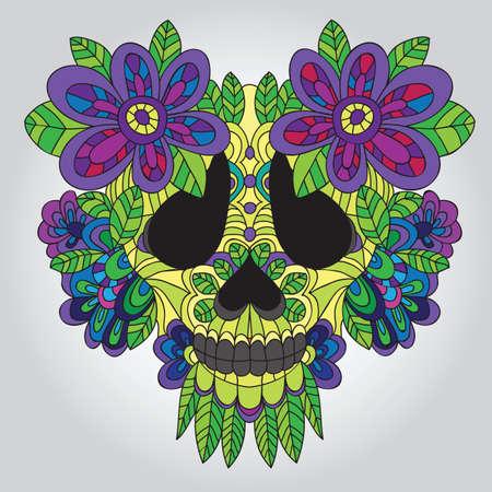 skull and flowers: D�a del cr�neo muerto del az�car - Vector