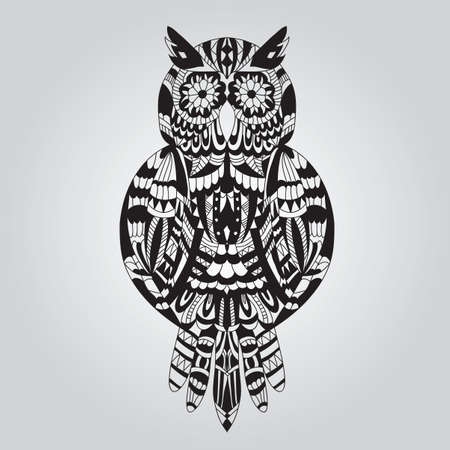 Beautiful ornamental owl graphic on a light background Vector