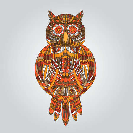 Brown owl in ornamental style for mascot or another design - Vector  Vector