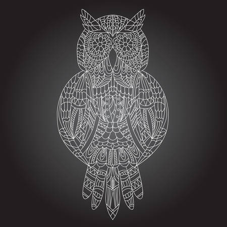 curve line: Beautiful ornamental owl graphic on a black background Illustration