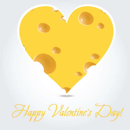 Vector valentines day  -  cheese illustration on light background Vector