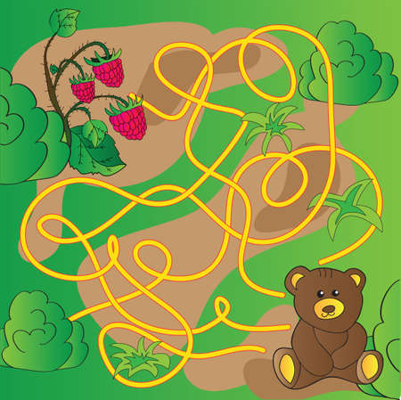 Cartoon Illustration of Education Maze or Labyrinth Game for Preschool Children with Funny Bear Animal and raspberries Vector