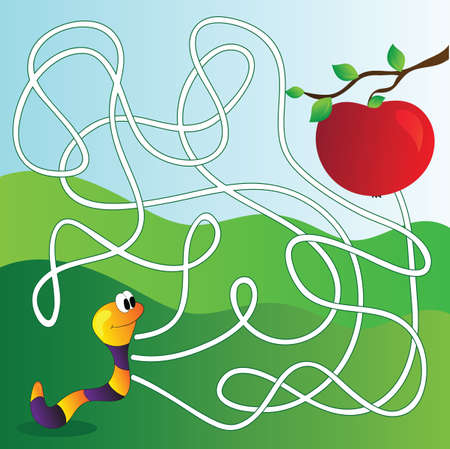 Vector Maze, Labyrinth education Game for Children with apple and worm