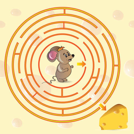 Cute Mouses Maze Game help mouse to find his cheese - Vector illustration Vector