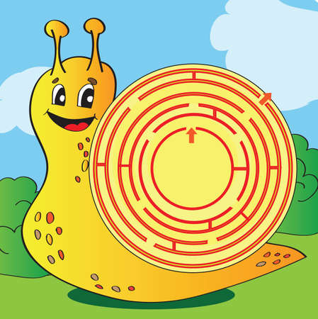 Cartoon Vector Illustration of Education Maze or Labyrinth Game for  Children with Funny Snail  Ilustração