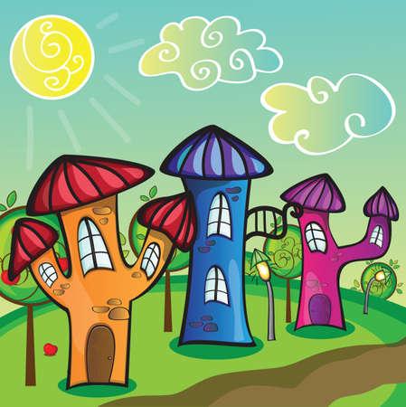 Cartoon city street with funny houses - vector Vector