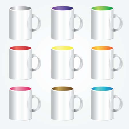High detailed illustration of colorful cups - vector Vector