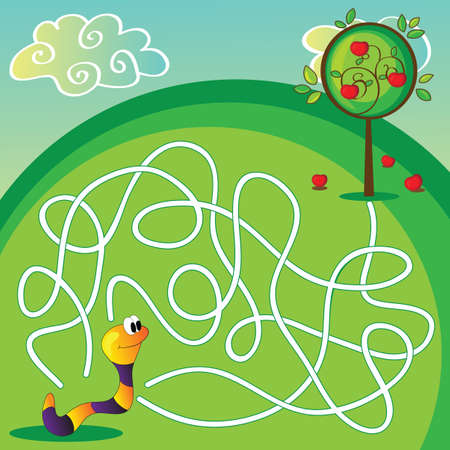 Vector Maze Labyrinth education Game for Children with apple and worm Vector
